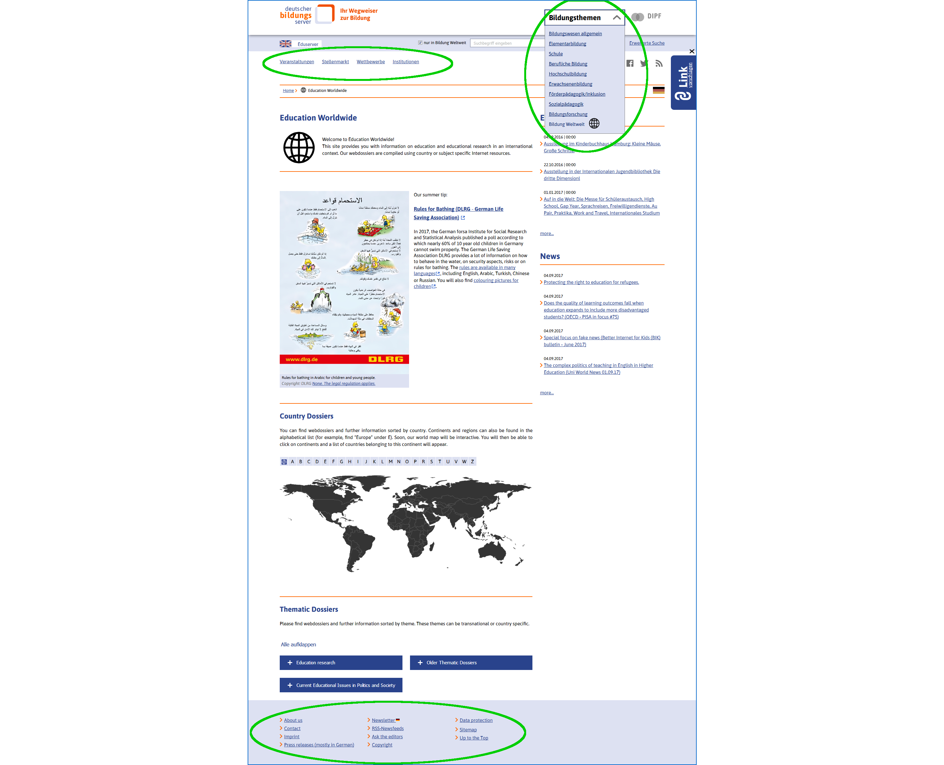 Screenshots of the homepage of Education Worldwide with green circles around the context menu at the top and at the bottom of the page.