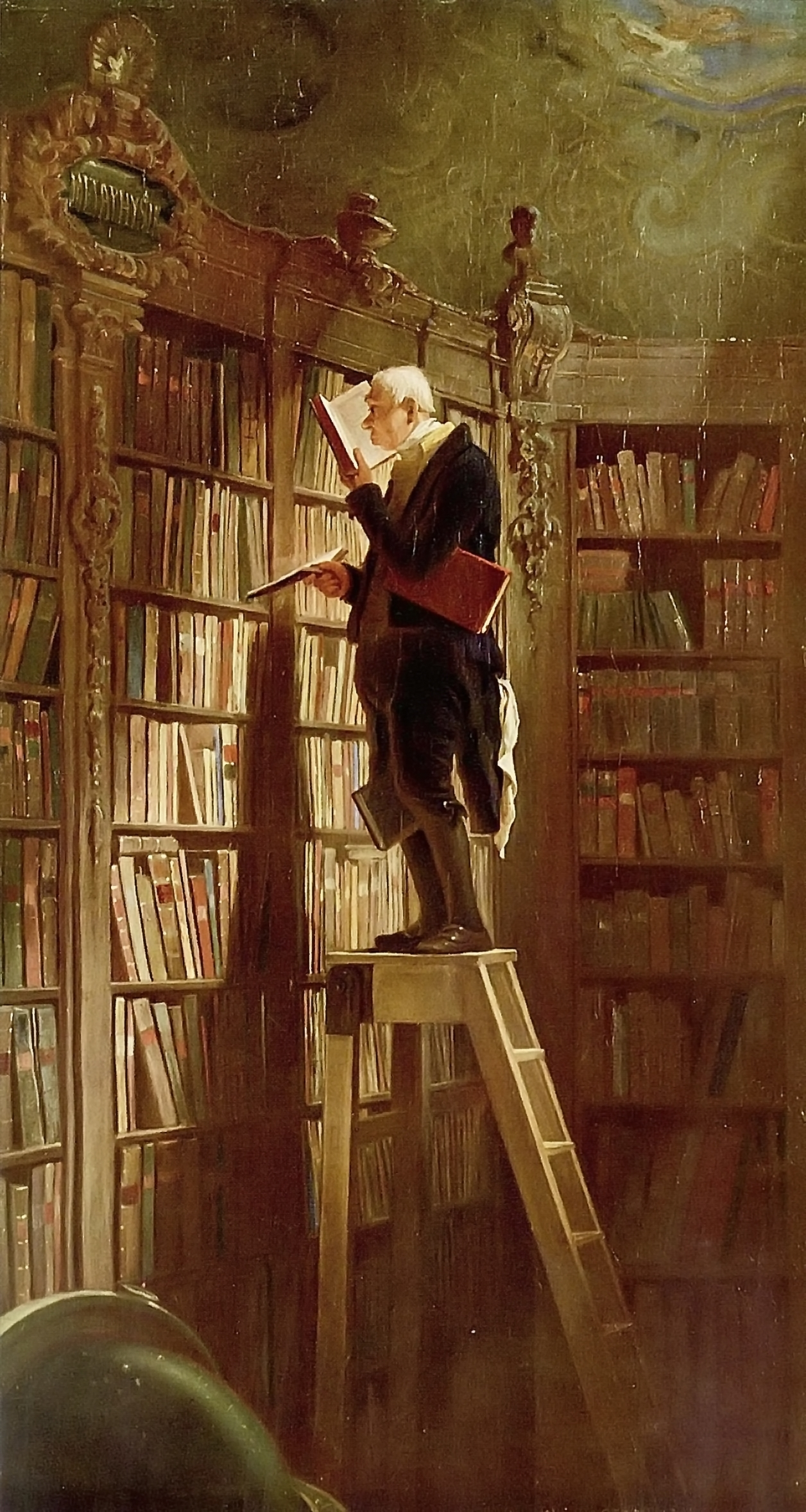 Painting 'The Bookworm' by Carl Spitzweg, version of ca. 1850, now located at the Museum Georg Schäfer in Schweinfurt, Germany.