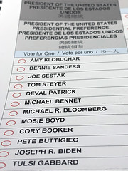 Ballot of the Democratic Primary in Sacramento County in 2020.