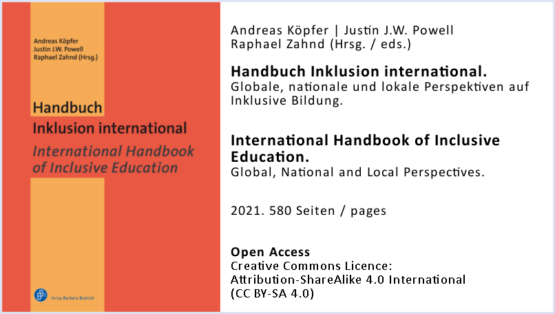 Cover of the International Handbook of Inclusive Education + additional information