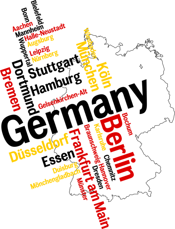 The geographical outlines of Germany, overlaid with a tag cloud with city names of major German cities (Germany, Berlin, Stuttgart Stuttgart, Essen, Hamburg, Bremen, ....)